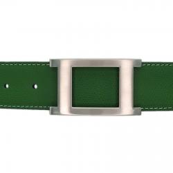 Ceinture cuir grainé vert 40 mm - Porto-fino mate