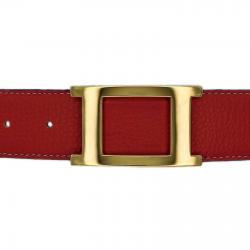 Ceinture cuir souple rouge 40 mm - Porto-fino or