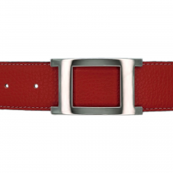 Ceinture cuir souple rouge 40 mm - Porto-fino argent