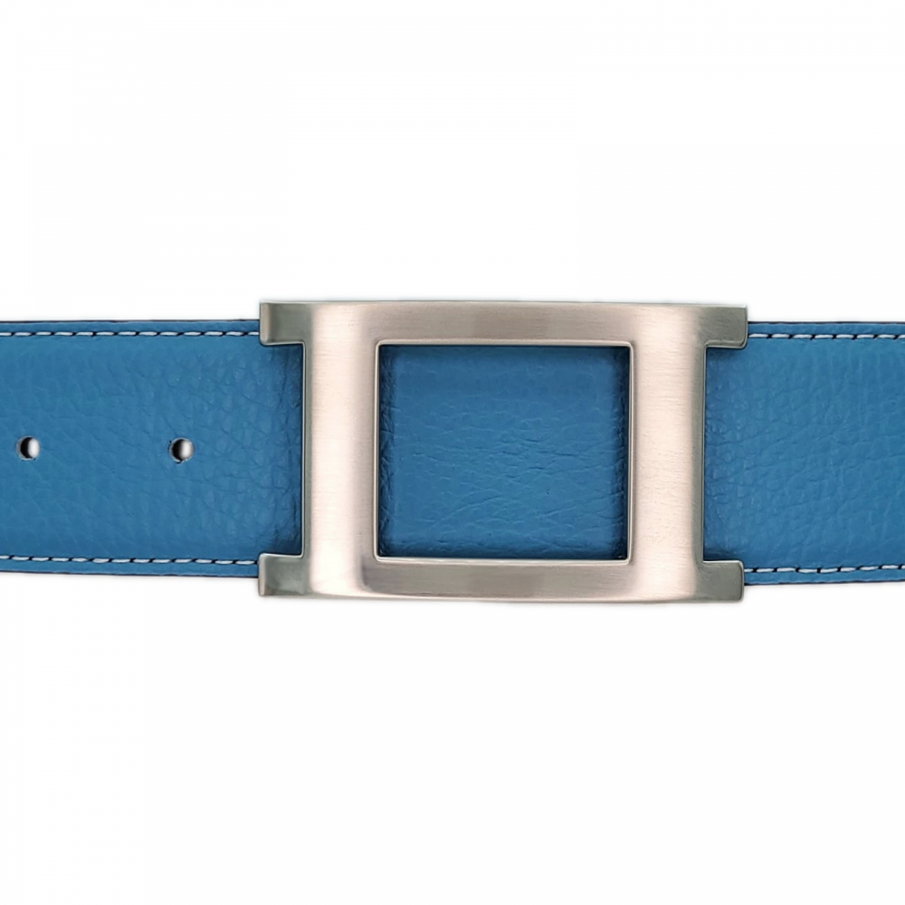 Ceinture cuir souple bleu ciel 40 mm - Porto-fino mate