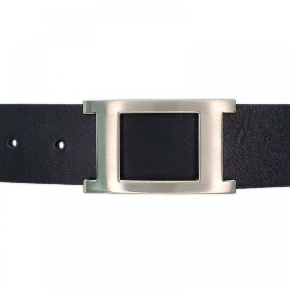 Ceinture cuir ceinturon noir 40 mm - Porto-fino mate