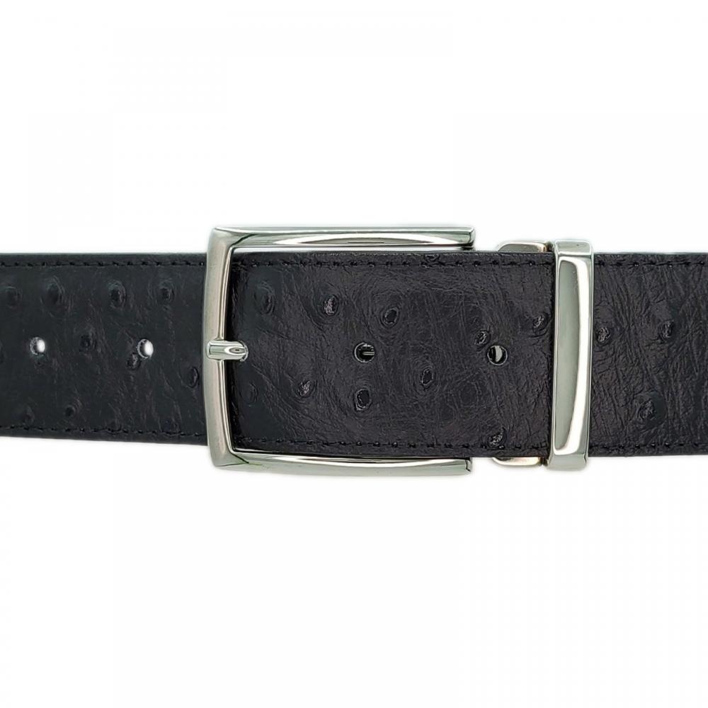 Ceinture cuir façon autruche noir 40 mm - Milano argent