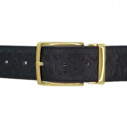 Ceinture cuir façon autruche noir 40 mm - Milano or