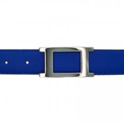 Ceinture cuir grainé bleu roi 30 mm - Porto-fino argent