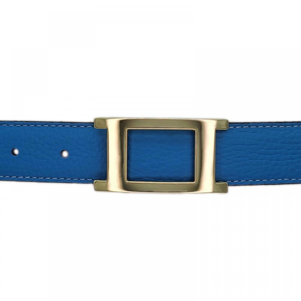 Ceinture cuir souple bleu ciel 30 mm - Porto-fino or