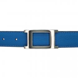 Ceinture cuir souple bleu ciel 30 mm - Porto-fino argent
