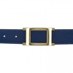 Ceinture cuir souple bleu marine 30 mm - Porto-fino or
