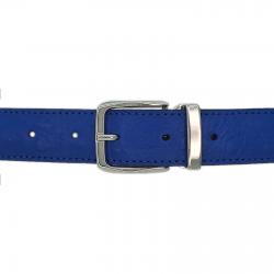 Ceinture cuir façon autruche bleu roi 30 mm - Côme argent