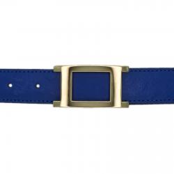 Ceinture cuir façon autruche bleu roi 30 mm - Porto-fino or