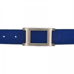 Ceinture cuir façon autruche bleu roi 30 mm - Porto-fino mate