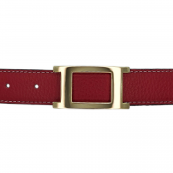 Ceinture cuir souple rouge 30 mm - Porto-fino or