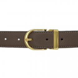 Ceinture cuir souple taupe 30 mm - Roma or